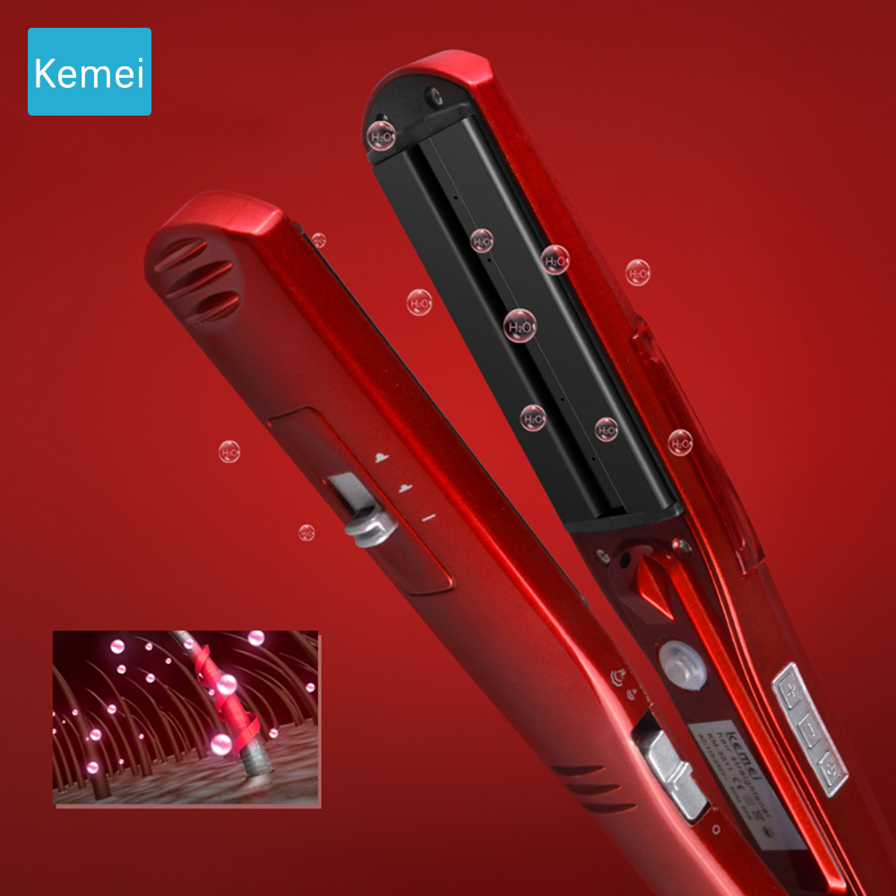 Red Fast Heating Steam Hair Straighteners Professional Hair styling tool Ceramic Hair Straightener Flat Iron used dry&wet hair kemei 2205 original professional hair straightener design for female styling tool for dry wet hair plat iron ceramic coating lcd