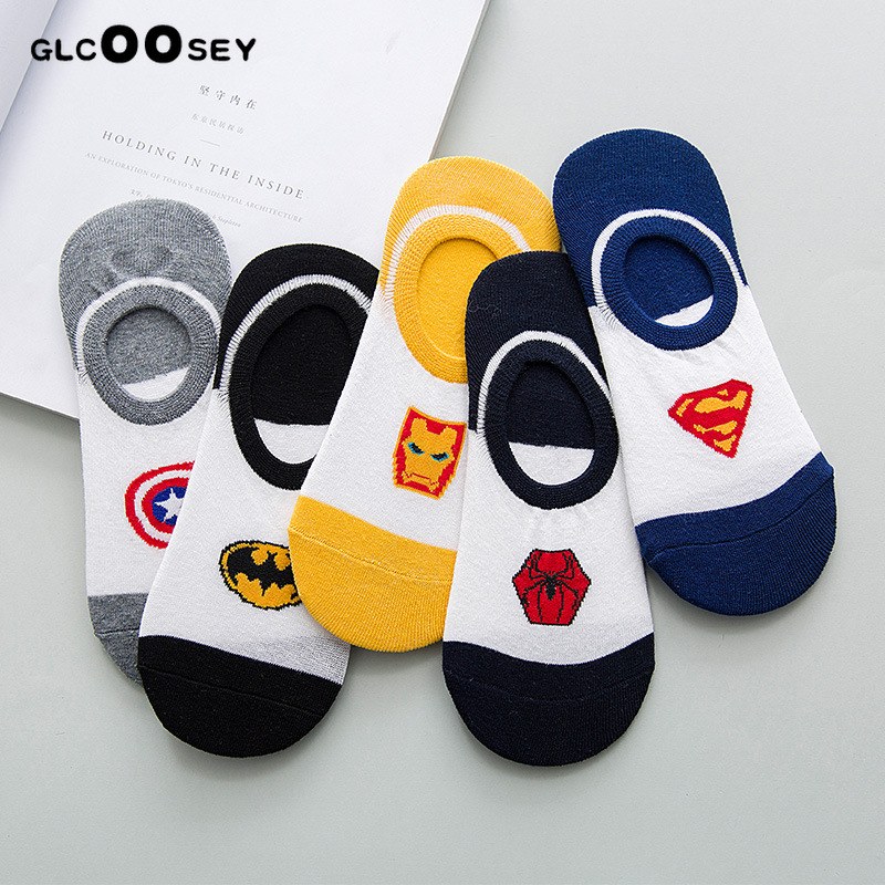 5 Pairs Comics Heroes General Couple   Socks   Cartoon Iron Man Batman Captain America High Temperature Stitching Casual Men   Socks