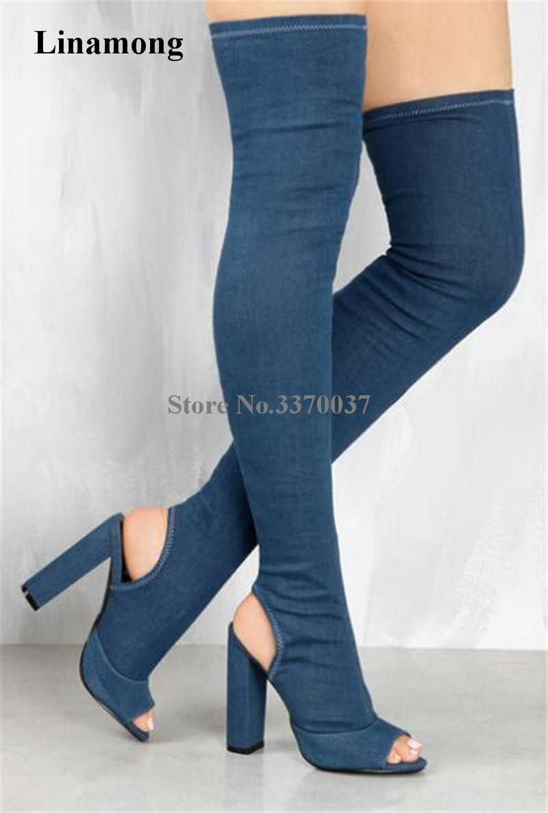 New Design Women Fashion Open Toe Blue Denim Over Knee Gladiator Boots Cut-out Bandage Elastic Thigh Long Chunky Heel Boots women fashion open toe suede leather side gold zipper up over knee gladiator boots cut out elastic thigh long high heel boots