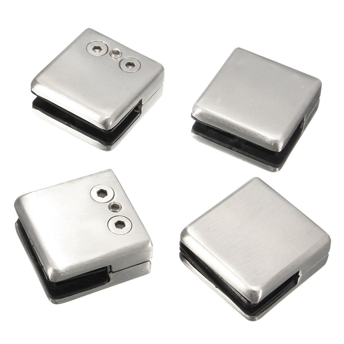 4pcs stainless steel square clamp holder bracket clip for glass shelf handrails silver