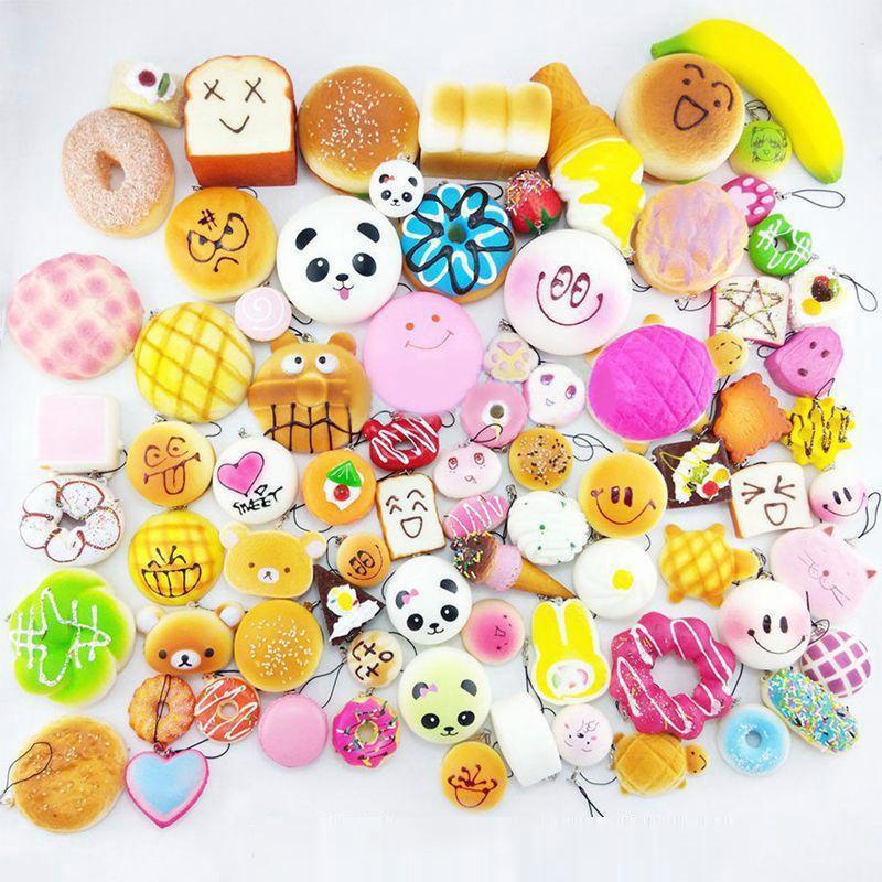 Цена за 30 шт. моделирование jumbo Medium Мини Squishy мягкий панда хлеб торт булочки универсальный для телефона ремни декора