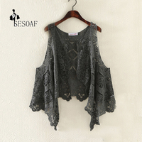 Sexy Hollow Out Lace Crochet Streewear Beach Blouse Asymmetric Open Stitch Kimono