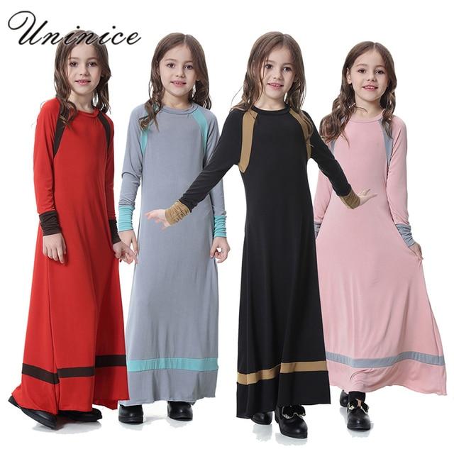 f6ab01841 Fashion Muslim Maxi Dress Children Abaya Girls Long Robe Gowns ...