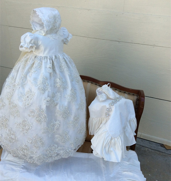 Vintage Luxury Ball Gown Short Sleeves Jewel Baptism Gown Appliques Christening Dress White Ivory 3 24month