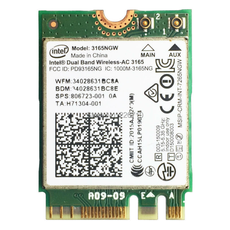 <font><b>3165NGW</b></font> Wifi Bluetooth BT 4.0 NGFF 802.11ac WLAN Card intel Wireless-AC 3165 433m SPS:806723-001 for HP ProBook 11 G1 3165AC image