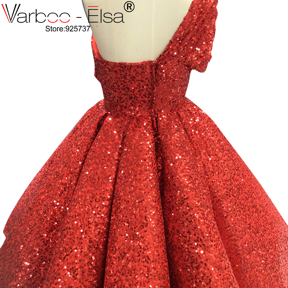 Image 4 - VARBOO_ELSA One Shoulder Sexy Arabic Kaftan Dubai Red Gliter Ball Gown Formal Evening Prom Party Gown Dress Elegant DressesEvening Dresses   -