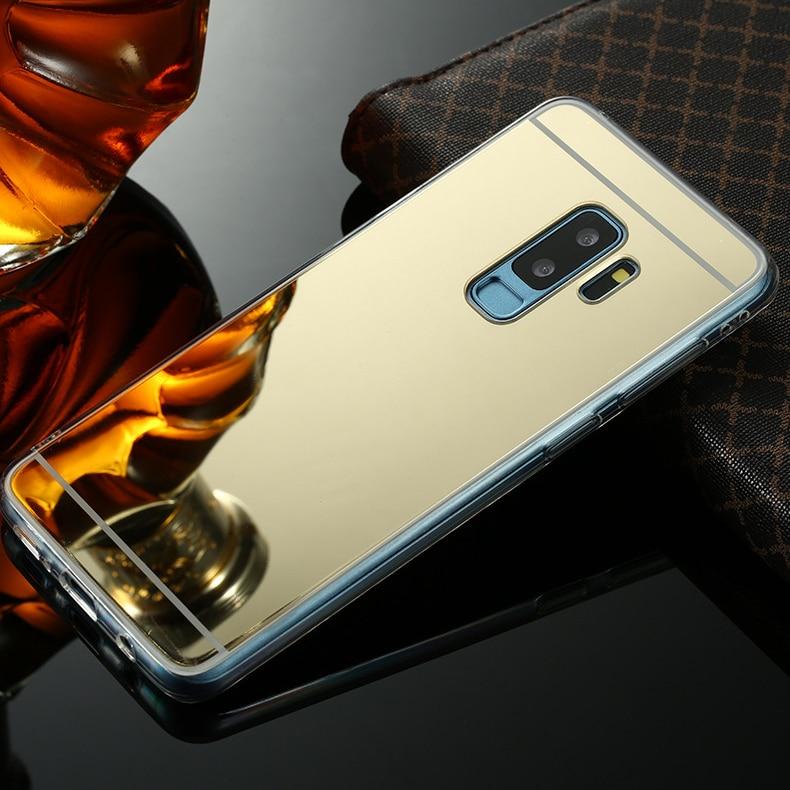 Espelho de Luxo Original Caso TPU Para Samsung Galaxy S8 S9 A6 A8 Plus 2018 S7 S6 Borda A3 A5 A7 j3 J5 J7 2016 2017 Nota 8 9 Capa