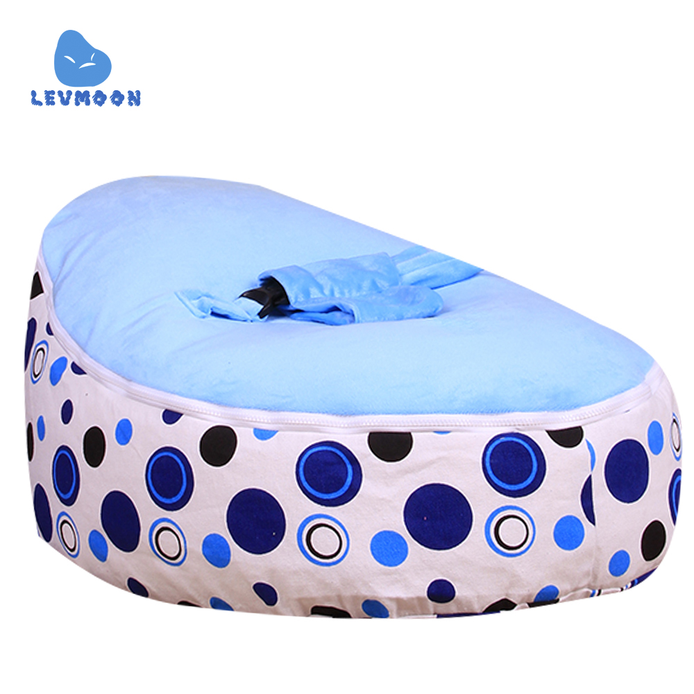 Levmoon Medium Blue Circle Print Bean Bag Chair Kids Bed For Sleeping Portable Folding Child Seat Sofa Zac Without The Filler the silver chair
