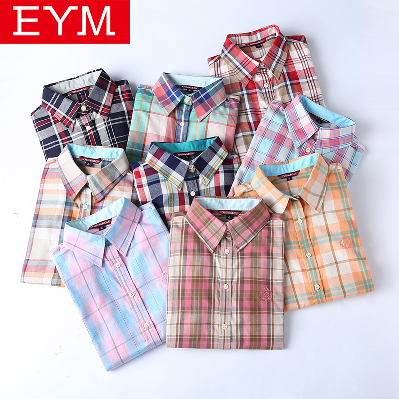 2018 New Fashion Women Plaid Shirts Long Sleeve Blouses Brand Lady Office 100% Cotton Casual Shirt Boyfriend Style Tops Blusas