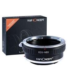 Adaptador conceito k & f para canon eos ef, lente de montagem para sony NEX 7 6 5r 5t a5000 a5100 a6000 a6300 a6400 a6500 a7 a7ii a7r a73 a9