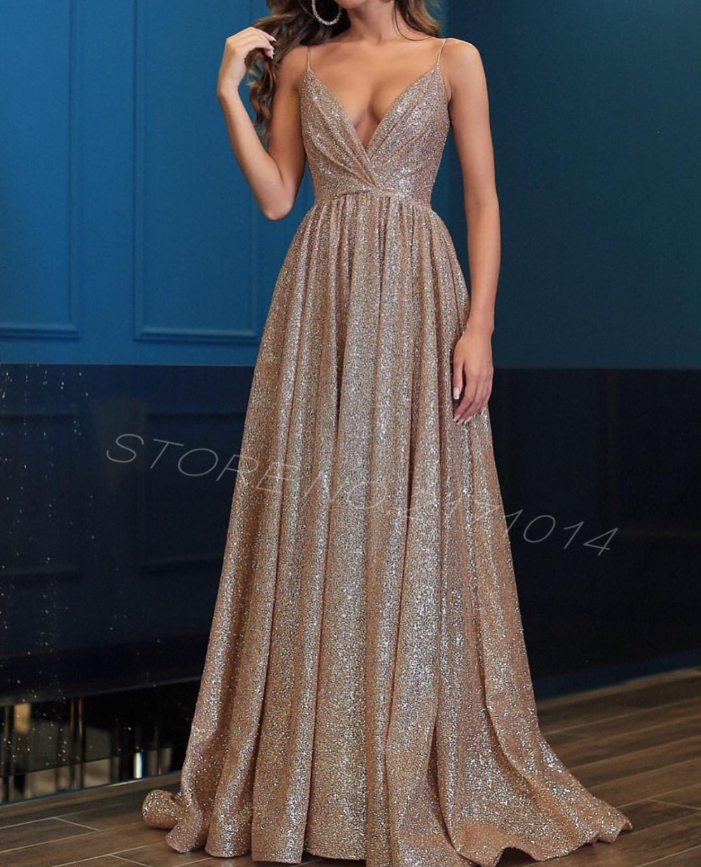 2019 Custom Made Sexy Sparkling Rose Gold Spaghetti Straps Backless Sequined Ruched A Line Long Arabic New Formal   prom     Dresses