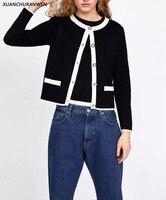 New Spring Cardigan Knitwear Women Patchwork Button O neck Knit Open Stitch Coat Female Slim Casual Knit Jacket ZA9211