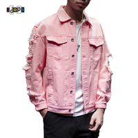 Idopy Men S Fashion Street Style Distressed Ripped Multi Colors Jean Coat Denim Jacket With Holes