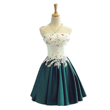 Semi Formal Dress Homcoming Dress 2017 Strapless Applique Flower