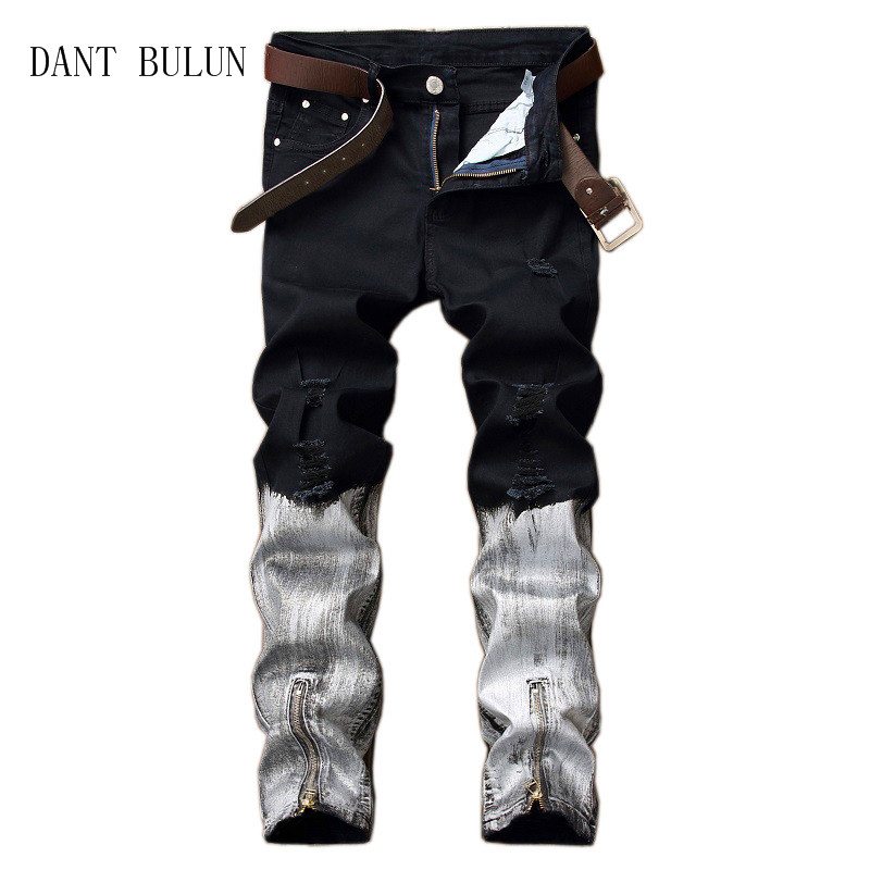 DANT BULUN High Quality Mens Jeans Biker Patchwork Ripped Straight Skinny Jeans Zipper H ...