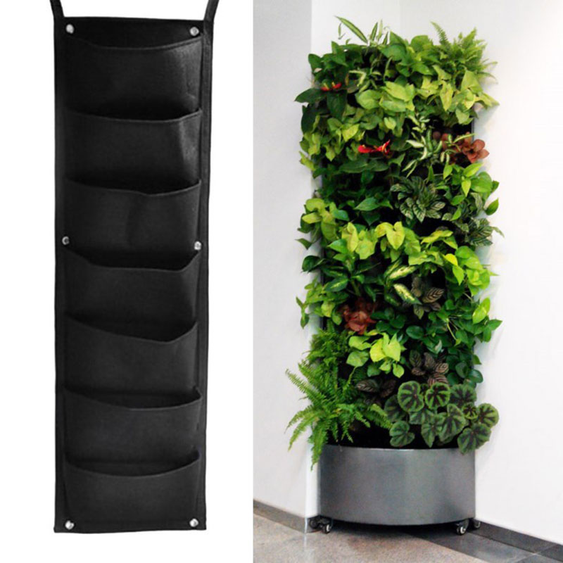 2/3/4/6/7 Pocket Vertical Gardening Flower Pots Planter Hanging Wall Garden Planting Bags Seedling Wall Planter Growing Bags HY