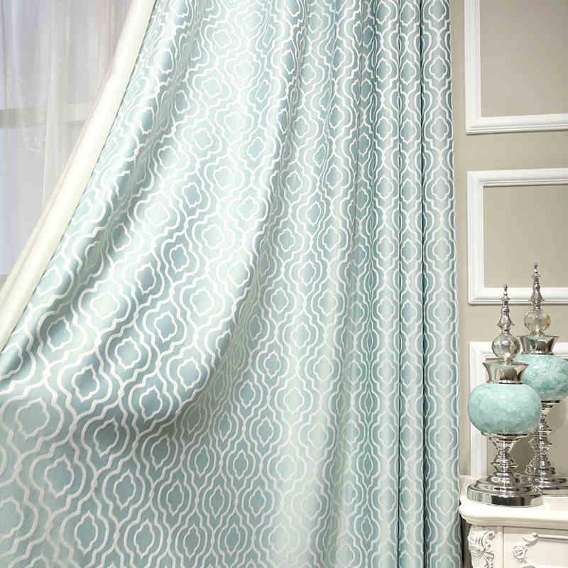 noble jacquard plaid curtains blue luxury kitchen curtains