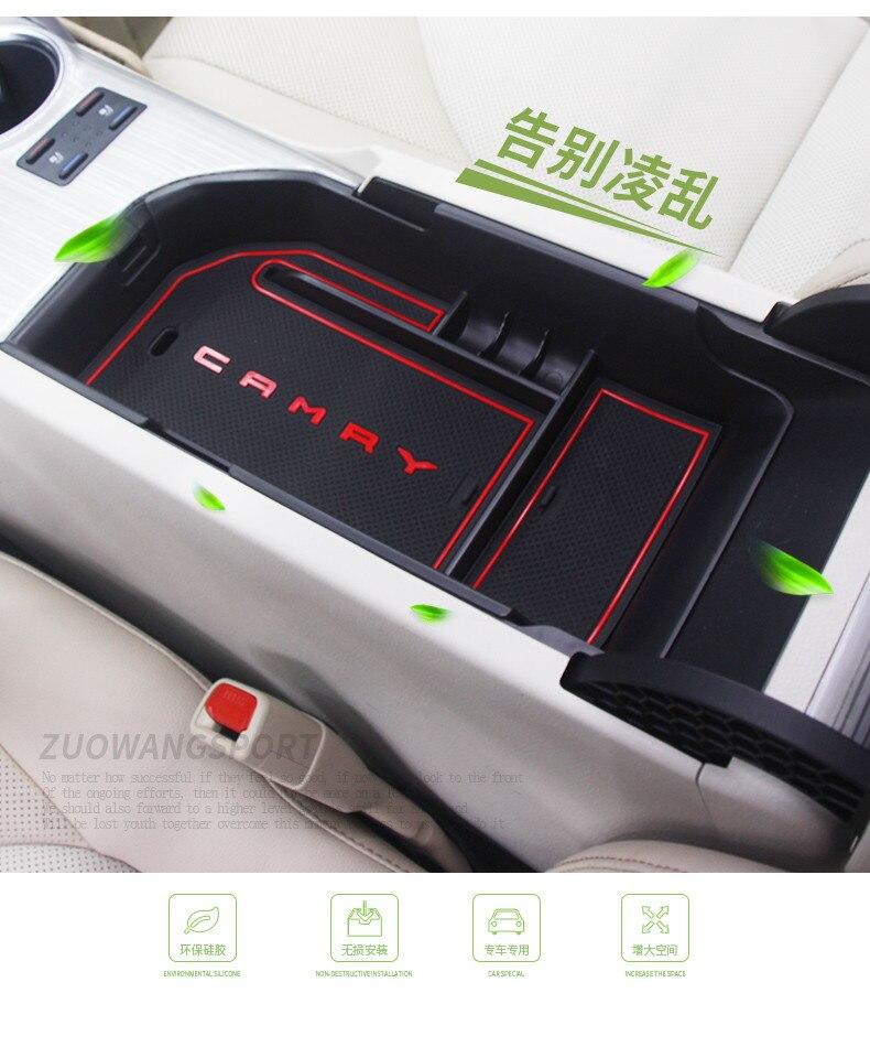 Apoyabrazos de la consola del coche caja de almacenamiento apoyabrazos contenedor organizador bandeja para Toyota Camry 2018 Accesorios de interior