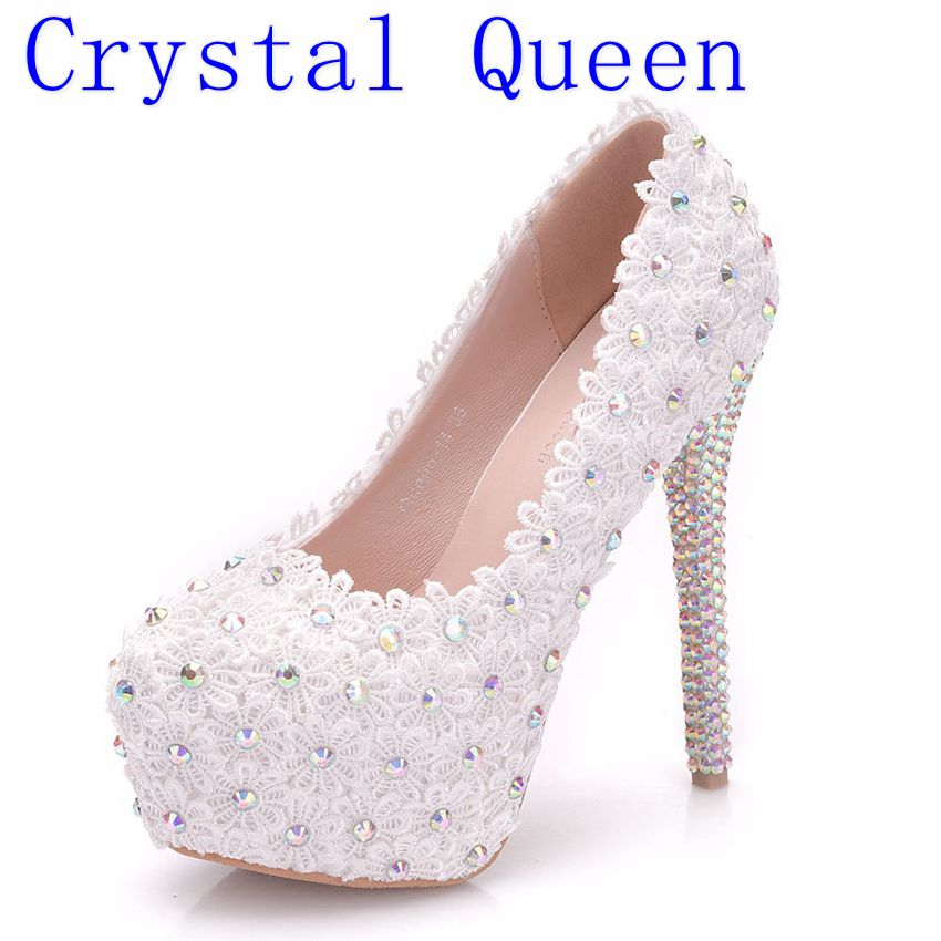 Crystal Queen Custom White Lace Flower Women Wedding Shoes Sexy Bridal Women Wedding Shoes White AB Color Crystal Pumps
