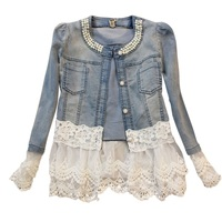 Women Girls Autumn Winter Denim Splice Fashion Long Sleeve With Pearls Lace Slim Coat Outwear