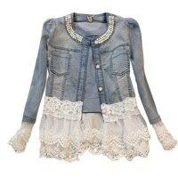 Women Girls Autumn Winter Denim Splice Fashion Long Sleeve With Pearls Lace Slim Coat Outwear