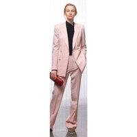 Пиджак + брюки женские деловые костюмы розовый двубортный женский офисный костюм Деловые брюки костюм из 2 предметов на заказ