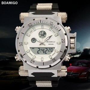 Image 2 - BOAMIGO מותג גברים צבאי ספורט שעונים גדול פנים כפולה זמן קוורץ הדיגיטלי שעון גומייה שעוני יד relogio masculino