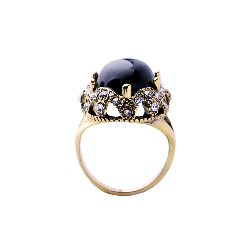Bulk Price Antique Gold Color Black Acrylic Round Big Rings 2017 Vintage Crystal Finger Rings Female Indian Jewelry