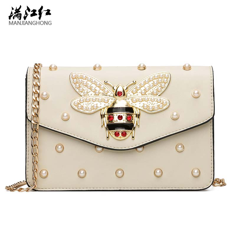 Women Luxury Designer Rhinestones Bee Leather Shoulder Bags 2017 Small Chain Crossbody Bag For Girls Ladies Bags Bolsa Feminina lacattura luxury handbag chain shoulder bags small clutch designer women leather crossbody bag girls messenger retro saddle bag