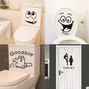 Funny toilet seat wall sticker bathroom car tank window home decor cartoon Bathroom Wall Stickers(China)