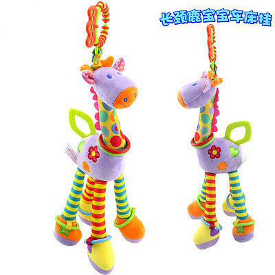 Quality deer plush toys bed baby mobile hanging baby rattles toy giraffe with bell ring infant teether Toys gift animal baby toys 0 12 months newborns stuffed rattles mobile bed stroller hanging rattle rabbit teether appease toy with bb bell