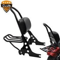 Black Motorcycle Luggage Rack Rear Passenger Backrest Sissy Bar Cushion Pad For Harley Sportster 883 1200 XLH XL 883C 883R 120