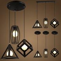 Led leuchten Retro innen beleuchtung Vintage anhänger licht arten eisen käfig lampenschirm lager stil leuchte-in Pendelleuchten aus Licht & Beleuchtung bei