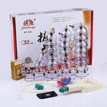 Günstige 32 Stück Dosen Tassen Chinese Vakuum Schröpfen Kit Ziehen sie EIN Vakuum Gerät Therapie Entspannen Massagegeräte Kurve Saug Pumpen