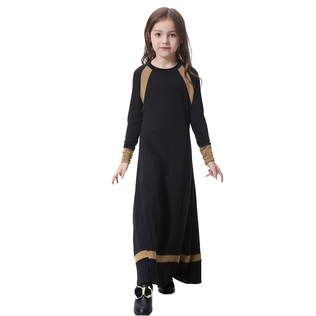 Muslim Children Abaya Kids Long Dresses Robe Gowns Kimono Long Sleeve Solid Saudi Arab Islamic Muslim Dubai Robe For Girl 5.4
