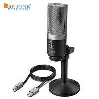 FIFINE USB микрофон для Mac ноутбуков и компьютеров для записи потоковой передачи Twitch Voice overcasing для Youtube Skype K670