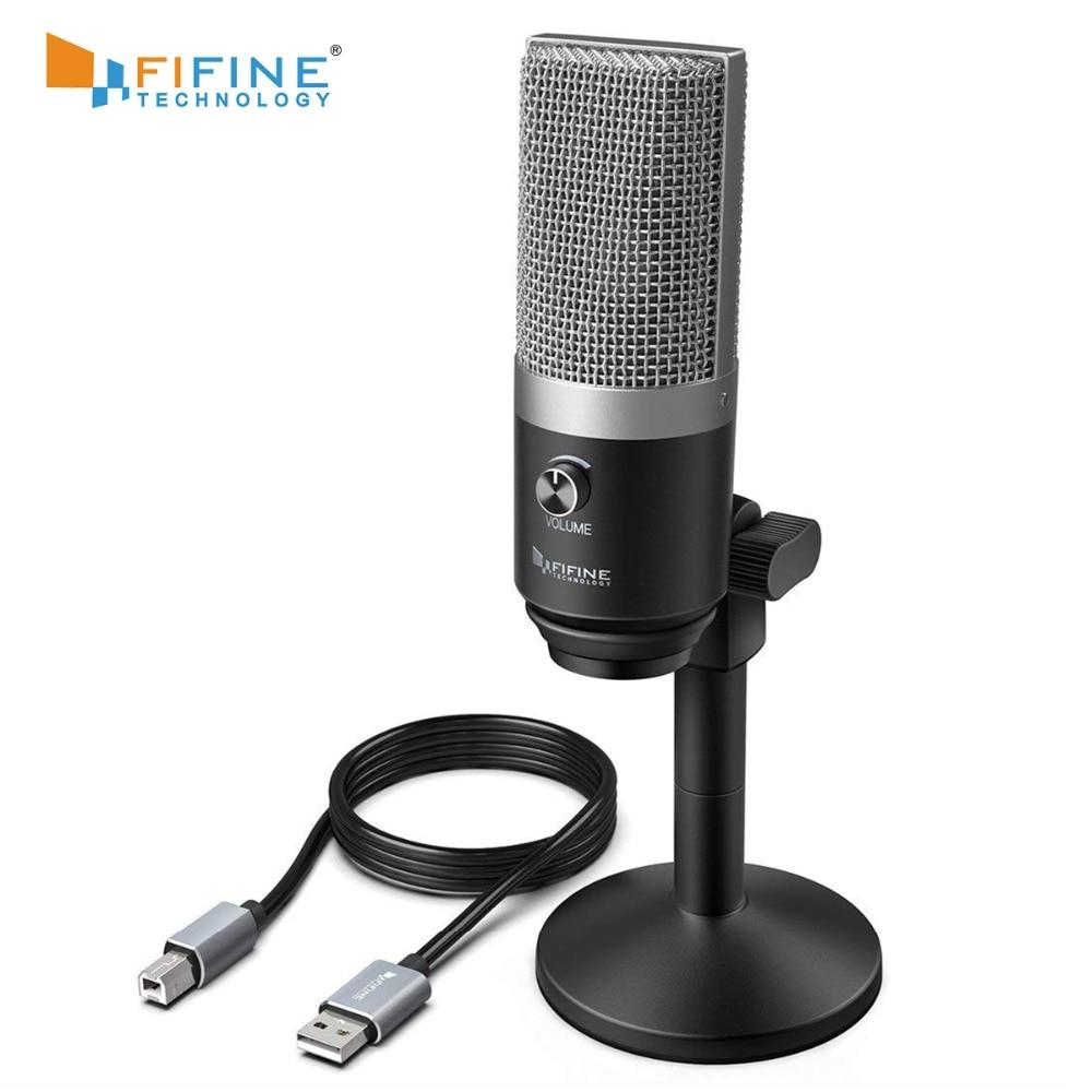 FIFINE USB микрофон для ноутбуков и компьютеров для записи потокового Twitch голоса за кадром для Youtube Skype K670