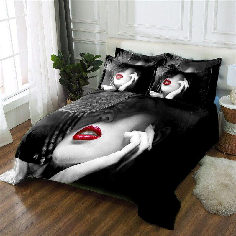 New Product sex lady 3D printed 4 Pcs Bedding Set Microfiber Bedclothes Bed Linens Duvet Cover Set Bed Sheet - 5