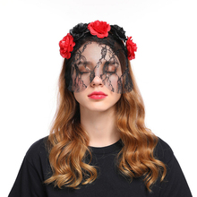 Europe and the United States new rose flower lace veil headdress Christmas Halloween Queen retro headband wholesale цена