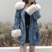 Джинсовая куртка женская зимняя куртка veste femme плюс размер chaquetas пуховик modis jaqueta feminina с натуральным лисьим меховым воротником парка