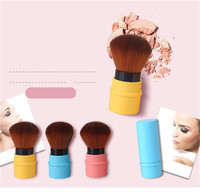 2017 Fashion Portable 3Pcs Makeup Brush Retractable MIni Cosmetic Face Blush Brush Foundation Soft Synthetic Hair