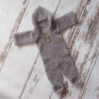Newborn baby Hooded Romper Baby Grey Mohair full set Props newborn Mohair Newborn Pants Newborn jumpersuits