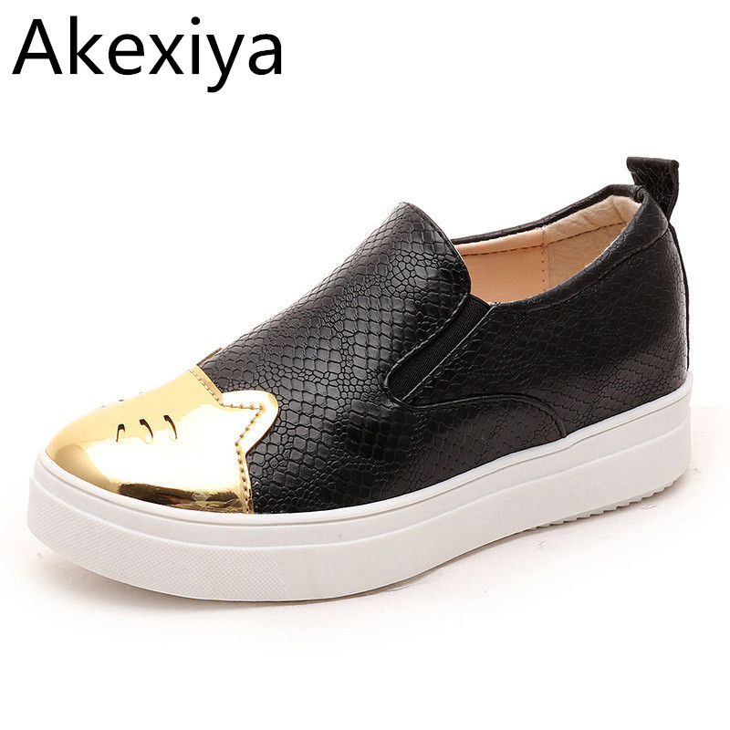 Akexiya Casual Platform Shoes Woman 2017 Bling Loafers Crocodile Stripe Creepers Slip On Flats Cat Patchwork Women Shoes phyanic crystal shoes woman 2017 bling gladiator sandals casual creepers slip on flats beach platform women shoes phy4041