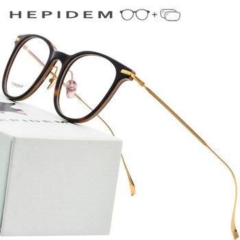 f002335361 B montura de gafas de titanio puro hombres acetato ultraligero mujeres 2018  nueva miopía redonda Vintage gafas de prescripción óptica