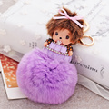 Cute Bowknot Baby Girl Monchichi Key Chain Rhinestone Chaveiro Fashion Pendants Handbag Charms Rabbit Fur Ball Keychain
