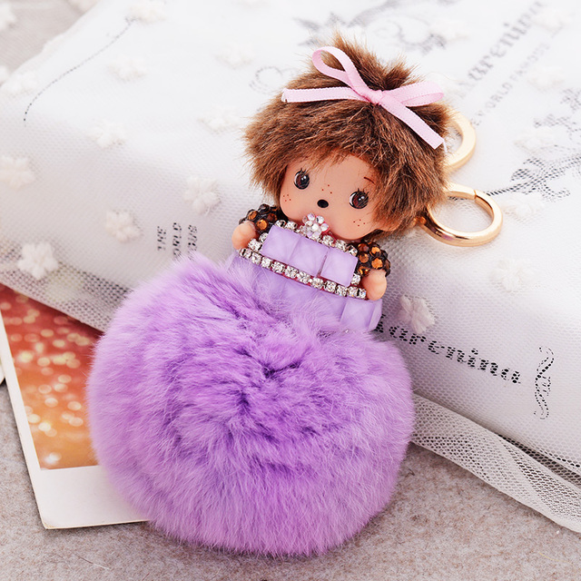 Cute Bowknot Baby Girl Monchichi Key Chain Rhinestone Chaveiro Fashion Pendants Handbag Charms Rabbit Fur Ball Keychain