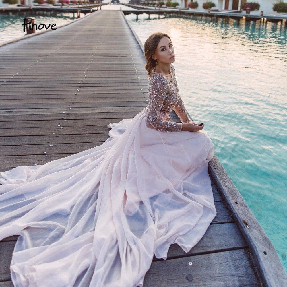 f6fe2f8b7dffe Finove ロマンチックなピンクのウェディングドレス 2019 セクシーなイリュージョンクリスタルビーズロングシフォン A ラインウエディングドレスローブ  · ド · 夜会 ...