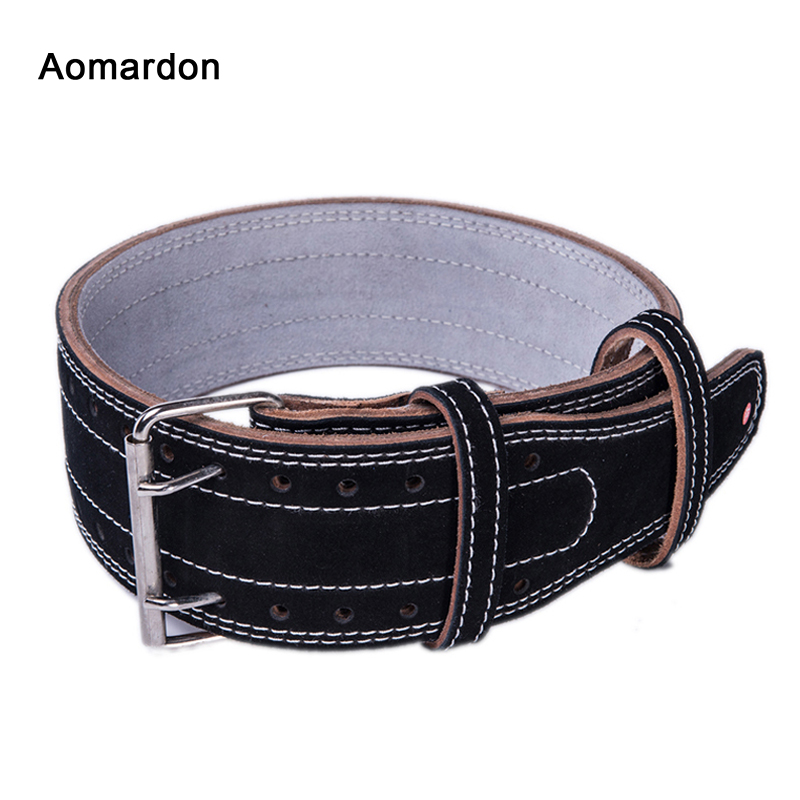 Aomardon Men Genuine Leather Weightlifting Belt Gym Fitness Crossfit Cowhide Back Support Bodybuilding Training Belt Equipment aomardon men