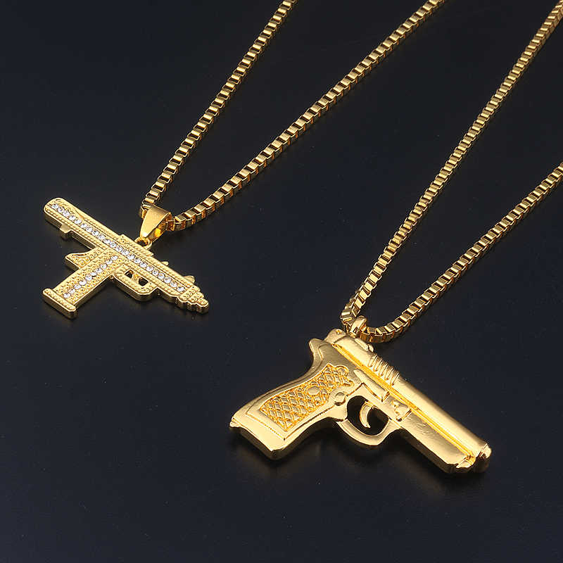 Fashion Jewelry Golden Gun Crystal Jewelry Men Hip Hop Gold Chain Necklace Pendant men and women gift Accessories