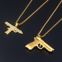 Fashion Jewelry Golden Gun Supreme crystal Jewelry Men Hip Hop Gold Chain Necklace Pendant men and women gift Accessories(China)